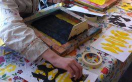 Workshop Zeefdrukken op school 12