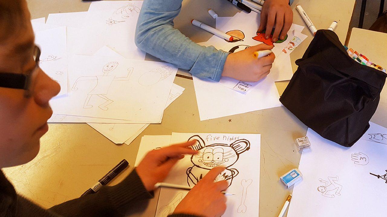 Thema-vrijheid-cartoontekenen-workshop-school